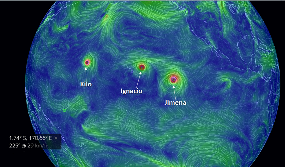Representación de los vientos en el océano Pacífico central y la presencia de 3 ciclones tropicales en el día 31 de agosto de 2015.
