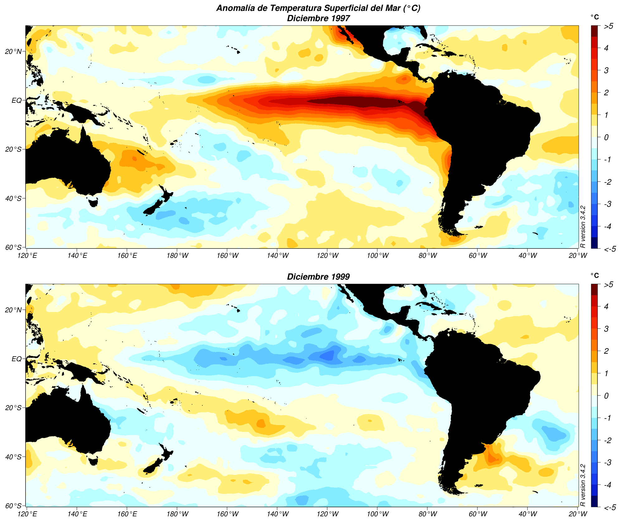 Anomalías de Temperatura Superficial del Mar en un evento El Niño y en un evento La Niña.